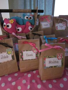 Felt Night Owls and Pajama Party Gift Bags