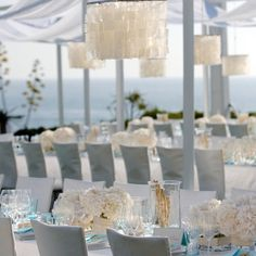 Wedding Reception- Montage in Laguna Beach, beach wedding, outdoor, capiz shell chandelier www.aboutdetailsdetails.com