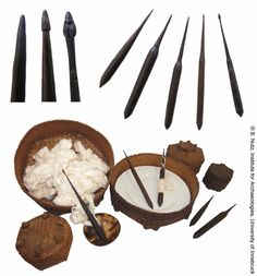 """Spindles made from the heartwood of New Guinea Rosewood, High Land Atoni Region, West Timor, Indonesia, early 20th century. Lengths: 7,74"""" to 10,23"""". These spindles were used supported in small or large bowls. Smaller bowls are sometimes made of coconut shells (bottom middle), larger ones can be woven baskets made of palm leaves in which a ceramic dish is placed ."""