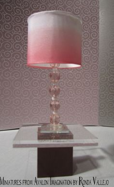 1:6th Scale Barbie or Blythe miniature dollhouse lamp with pink faceted beads and a pink ombre lamp shade
