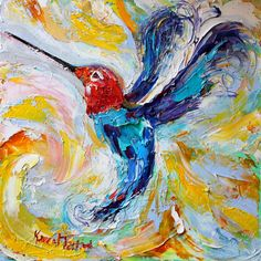 Hummingbird Archival canvas giclee print made by Karensfineart