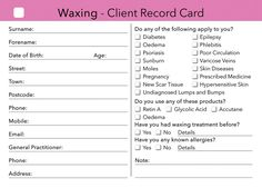 Waxing Client Card for beauty salons, therapists, spa salons. High quality salon stationeries - client cards, gift cards, loyalty cards and appointment cards. Hair Removal, Mary Kay, Waxing Aftercare, Home Beauty Salon, Beauty Salons, Beauty Room, Esthetics Room, Waxing Tips, Consent Forms