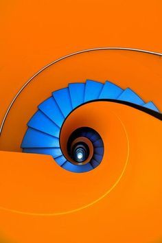 """Blue as an orange by Eric """"Kala"""" Forey on spiral staircase escalera de caracol Orange Aesthetic, Stair Steps, Complimentary Colors, Bold Colors, Stairway To Heaven, Take The Stairs, Art Furniture, Stairways, Color Inspiration"""