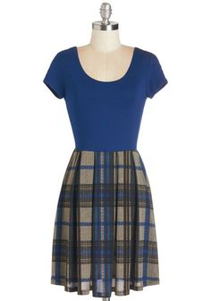 At Your Beck and California Dress in Plaid - Blue, Tan / Cream, Plaid, Casual, A-line, Short Sleeves, Fall, Winter, Knit, Short, Scholastic/Collegiate, Twofer, Variation, Scoop