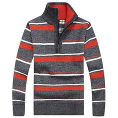 Mens Winter Thicken Zipper Stand Collar Sweater Casual Stripe Pullover Knitwear at Banggood
