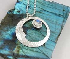 Sterling Silver Crescent Moon Necklace with moonstone by AmityJewelry