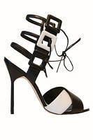 black elegant sandals with small tiny straps Manolo Blahnik