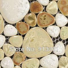 FREE Shipping mosaic tile sheets Porcelain Pebble bathroom wall & floor tiles kitchen backsplash ideas wholesale ceramic mosaic-in Mosaics f...
