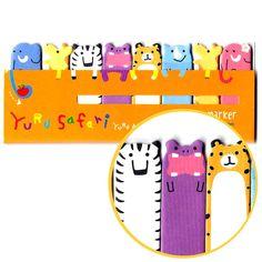 Safari Animal Themed Elephant Tiger Zebra Giraffe Memo Pad Post-it Index Tab Sticky Bookmarks