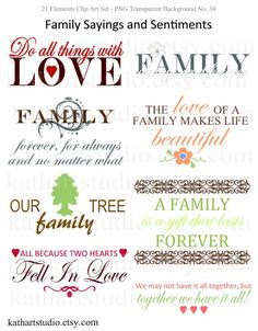 family quotes | BUY 2 GET 1 FREE - Family Sayings and Sentiments Clipart for ...