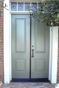 Exterior DB122 Solid Wood Door | Double D106 Model | www.VintageDoors.com Painted Doors, Wood Doors, Bench Covers, Texture Painting, Exterior Doors, House Painting, Windows And Doors, Solid Wood, House Plans