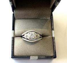 14K White Gold Over Round Diamond Wedding Womens Engagement 3Pcs Bridal Ring Set