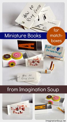 """""""DIY Miniature Blank Books for Matchboxes"""" I'm going to apply it in my children class to review lesson of """"hobby"""""""