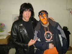 me with Marky Ramone at the Annual Not Just Rock Record Expo in Oaks PA, Thanksgiving weekend 2012.. and, I wore the Flyers mask because this was during the NHL lockout and was desperate for some hockey, lol