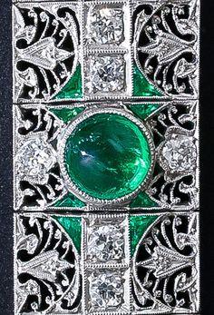 Detail: Antique emerald and diamond bracelet, circa 1910-1920. Via Diamonds in the Library.