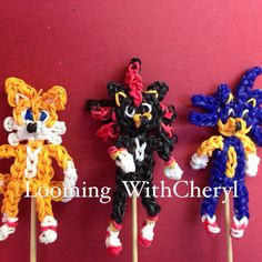 Rainbow Loom Figures Tails, Shadow, Sonic, By Cheryl Ann Spinelli. Charms Fox. Sonic the hedgehog Characters. Check out my YouTube Channel  Looming WithCheryl.