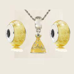 Belle Dress Charm Fits Pandora Murano Glass Bead Sterling Silver