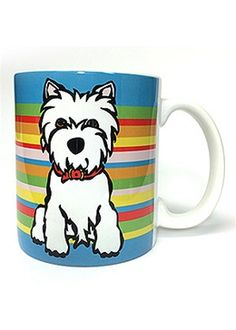 westie (west highland white terrier) - Westie On Stripes Mug by Marc Tetro - 11oz