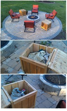 DIY Firepit storage tables, one holds the propane gas tank for the firepit the other holds the outdoor covers for the chairs. Built from Ana White's Plans.