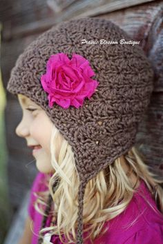 Brown Girl's Crochet Earflap Hat in Cotton - Shabby Chic Flower Hat - Beanie with Earflaps