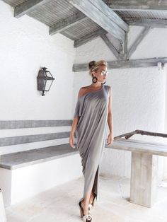 Gray Maxi Dress / Gray Kaftan / Asymmetric Plus Size Dress /