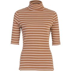 French Connection Duty Stripe Short Sleeve Polo Neck Top , Classic... ($52) ❤ liked on Polyvore featuring tops, stripe top, elbow length sleeve tops, slimming tops, turtleneck top and cotton turtleneck