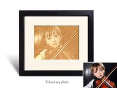 Wood Photo Engraving Memento–Profesionally Engraved and Framed