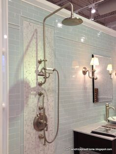 Shower Fixtures Kohler shower fixture, complete with separate hand shower The Illogical Use Of Logic Kohler Shower, Shower Faucet, Shower Bathroom, Vintage Bathrooms, Rustic Bathrooms, Cottage Showers, Slate Shower, Shower Fixtures, Bathroom Renovations