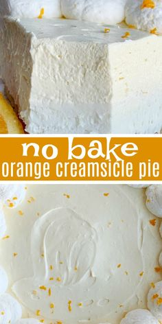 Orange Creamsicle Pie is a no bake dessert that is so refreshing and full of sweet orange cream flavor. Made easy with a prepared graham cracker crust, a sweet cream layer, and a light & fluffy orange layer with orange juice and fresh orange zest. Pudding Desserts, Cold Desserts, No Bake Desserts, Easy Desserts, Delicious Desserts, Desserts With Oranges, Recipes With Oranges, Light Dessert Recipes, Light Desserts