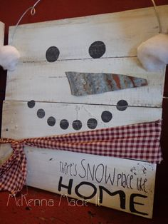 Snowman Pallet Wood Sign! Door Hanger, Christmas Decor, Winter Decor, Snow Place…