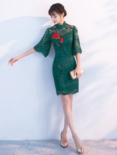 Green Lace Qipao / Cheongsam Dress with Angle Sleeve