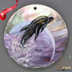 Keychain Hand Painted Dolphin Necklace Shell Pendant Beads ZL303381 #ZL #Pendant