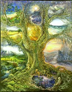 """O lands! O all so dear to me -- what you are, I become part of that, whatever it is."" ~ Walt Whitman  (Painting: Tree of Other Lands - Josephine Wall)"