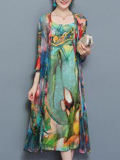 Gracila Vintage Two Pieces Set Straps 3/4 Sleeve Print Dress at Banggood
