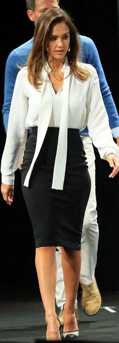 384ee9e826 Jessica Alba Style - Jessica Alba looks elegant in cream blouse and tight pencil  skirt as she attends TechCrunch Disrupt event in New York - Jessica Alba's  ...