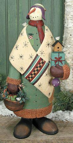 Snowman Holding Birdhouse & Basket Figurine – Christmas Folk Art & Holiday Collectibles – Williraye Studio $70.00