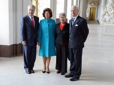 10/8/14.   King Carl Gustaf and Queen Silvia receive Austria's President, Heinz Fischer, and his wife, Margit, at the Swedish Royal Palace.