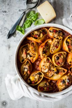 Conchiglioni with meat and vegetables (stuffed shells)