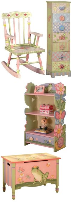 From: Childrens Funky Furniture: So many fabulous furniture designs to create a magical space for your child / At Top: Pink Crackle Rocking Chair & Seven Drawer Cabinet / Middle: Magic Garden Bookcase / Bottom: Magic Garden Toy Chest