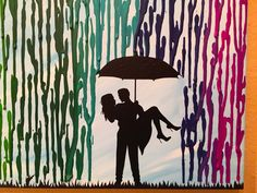 Housewarming Gift Home Decor, Melted Crayon Art, Rainbow Painting, Man Carrying Woman Silhouette Art, Rainbow Rain Unique Wedding Gift 16x20 by FemByDesign on Etsy