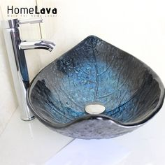 Leaf Shape Tempered Glass Wash Sink With Faucet Basin Chrome Faucet Set Bathroom Sink Bowl Blue Washbasin Countertop Sink Tub #LuxuryBathrooms #chromefaucet