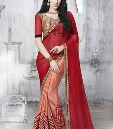 Buy Red and Orange embroidered chiffon saree with blouse chiffon-saree online