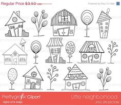 60% OFF house neighbourhood digital stamp commercial use, vector graphics, digital stamp, digital images - PGDSPK397