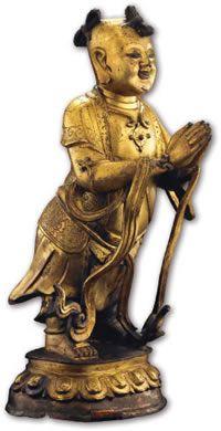 佛教藝術 - 佛教造像的金銅佛像 中台山博物館館藏金銅童子立像(半側圖) 明~清(1368-1911) 鎏金銅 H34×W14×D10cm