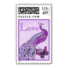 Orchid Purple Wedding LOVE Peacock Postage Stamps #wedding #stamps #love #marriage #romance #bride #groom #jaclinart #postage #orchid #purple #peacock