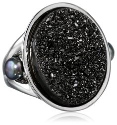 "Honora ""Rock Star"" Black Freshwater Cultured Pearl and Black Agate Drusy Ring, Size 7"