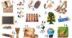 Geschenkideen für Kinder zwischen 3-6 Jahren, bauen, stricken, knüpfen, Gesellschaftsspiel, erstes Mikroskop, Wikki Stix, Cuboro, Texo, Drei Blätter Bauernhof
