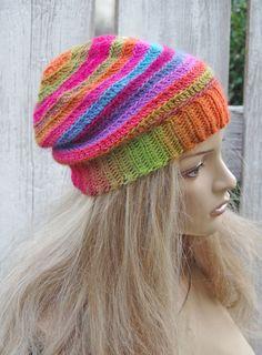 Crochet  Beanie  with mittens Slouchy  Rainbow  hat Women Hat, Womens hat,Flower glowes mittens, colorhul hat.