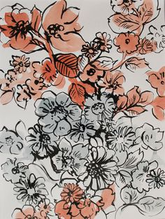 Original handpainted floral artwork ink line and by ClareTherese, £16.00