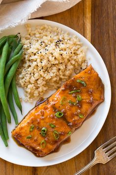 This Maple-Soy Glazed Salmon only requires FOUR ingredients and you wouldn't believe how amazing it tastes! I love when I have recipes like this that call